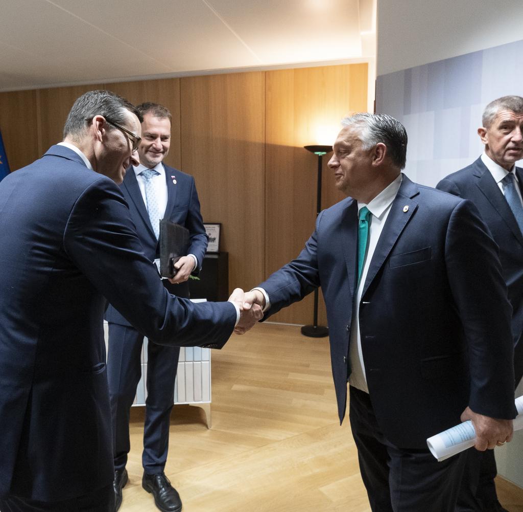 Morawiecki, Igor Matovic, Viktor Mihaly Orban und Andrej Babis