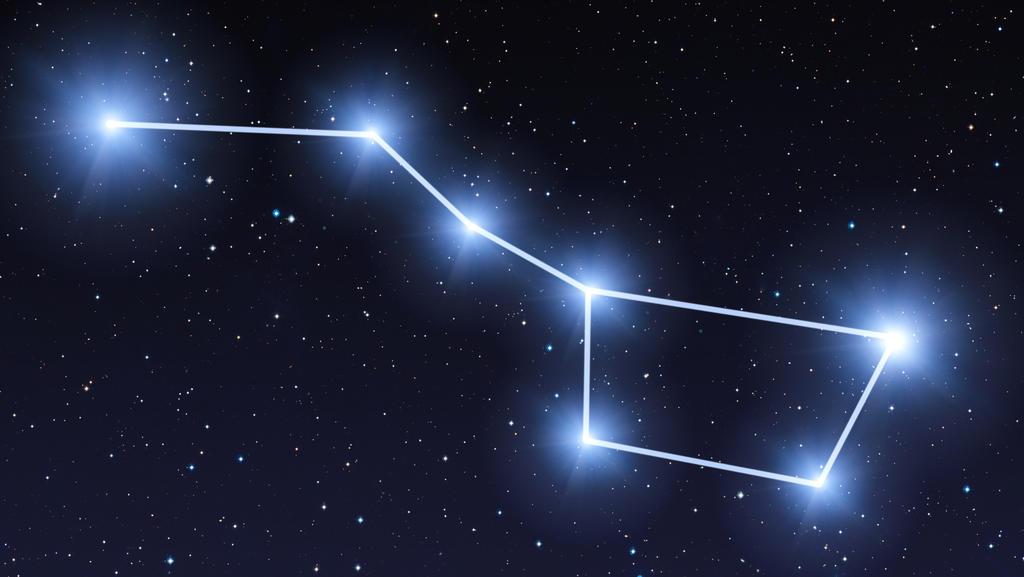 Ursa Major Sternbild am Nachthimmel mit strahlend blauen Sternen