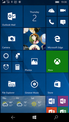Windows 10 Mobile Screenshot
