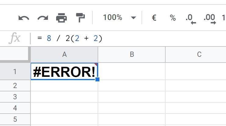 Google Sheets Fehler
