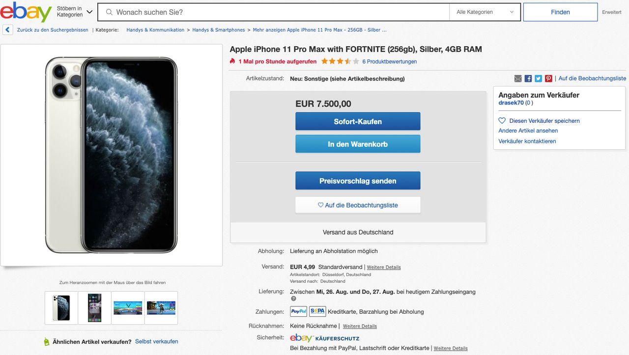 """Ebay: 7500 Euro für ein iPhone mit """"Fortnite"""" installiert"""
