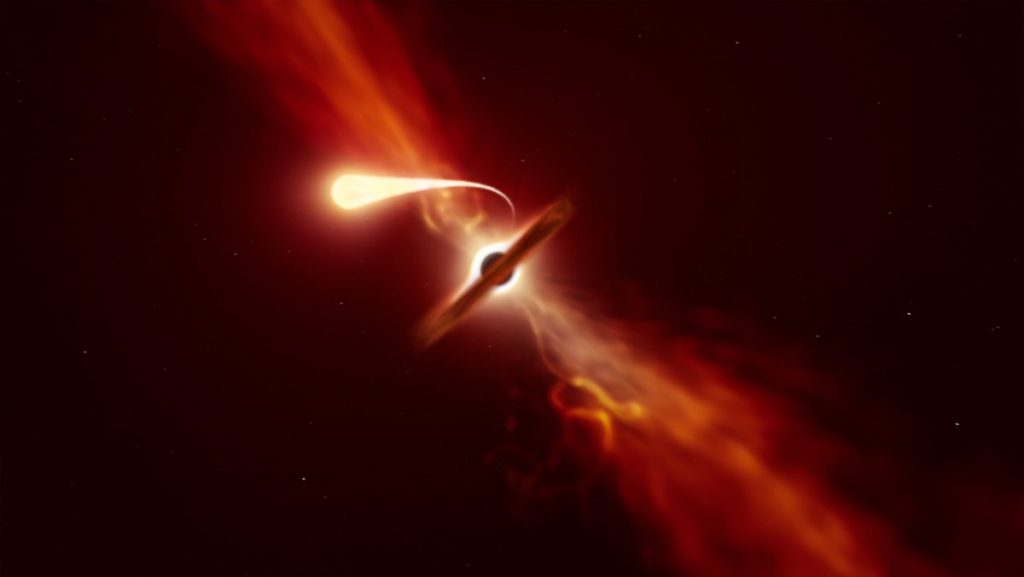 """Prozess der """"Spaghettiifizierung"""": Schwarzes Loch zerreißt einen Stern"""