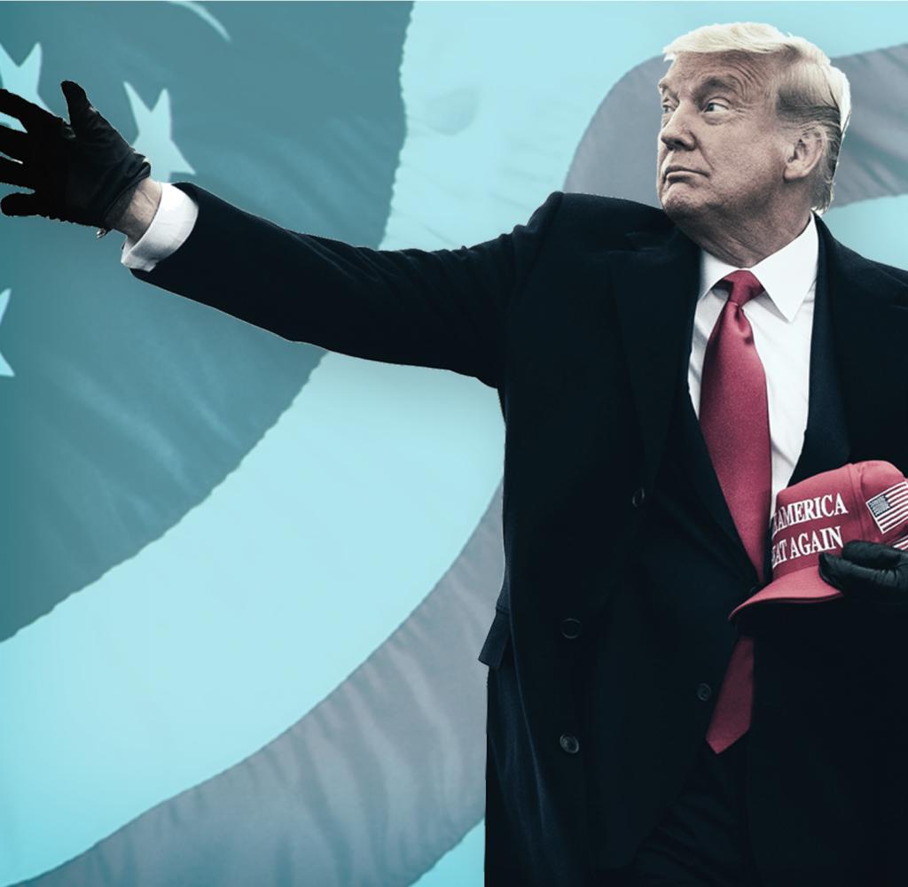 Die Geschichte geht ungefähr so: Donald Trump war ein großartiger Präsident, der größte von allen.  Er beschützte die Vereinigten Staaten und gab ihnen einen wirtschaftlichen Aufschwung