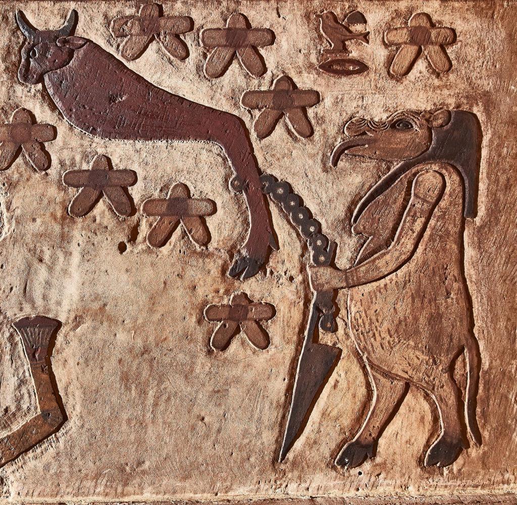 Der Esna-Tempel Dokumentation der Restaurierung durch ein Projekt des Instituts für die Kulturen des Alten Orients an der Eberhards-Karls-Universität Tübingen.  Abb. 11: Die zirkumpolare Konstellation Big Dipper in Form eines aus sieben Sternen bestehenden Stierbeins, das von einer Nilpferdgöttin an einen Pfahl gebunden wird, um zu verhindern, dass der Big Dipper, eine Verkörperung des feindlichen Gottes Seth, zu seinem Bruder geht Osiris kam in die Unterwelt.  Die Restaurierung wurde im Oktober 2020 abgeschlossen