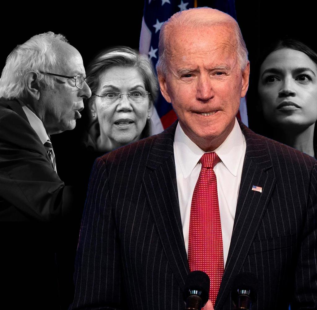 Die linken Demokraten Bernie Sanders, Elizabeth Warren und Alexandria Ocasio-Cortez üben zunehmenden Druck auf Joe Biden aus