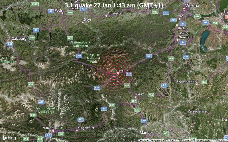 Erdbeben kleiner Stärke 3,1 2 km südöstlich von Trofaiach, Österreich / Vulkan