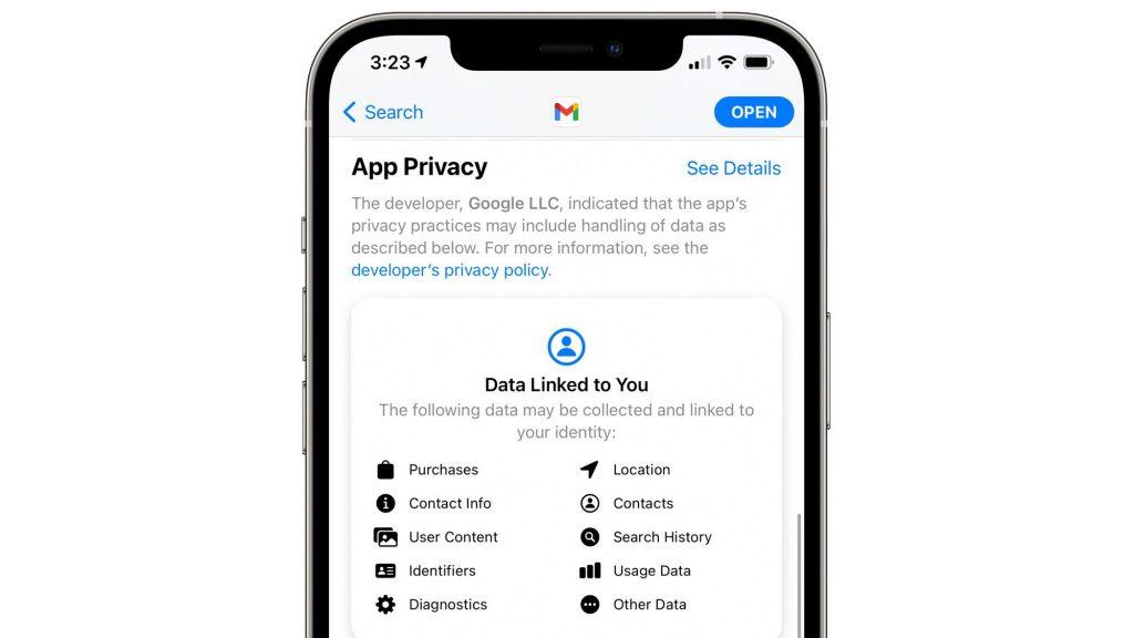 Google fügt der Google Mail-App endlich App-Datenschutzetiketten hinzu
