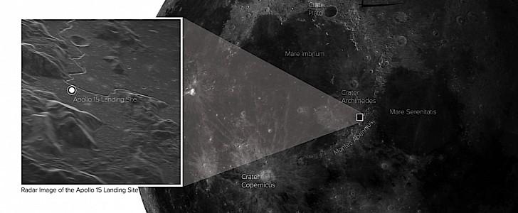 Das Weltraumradar auf der Erde sieht den Mondlandeplatz Apollo 15