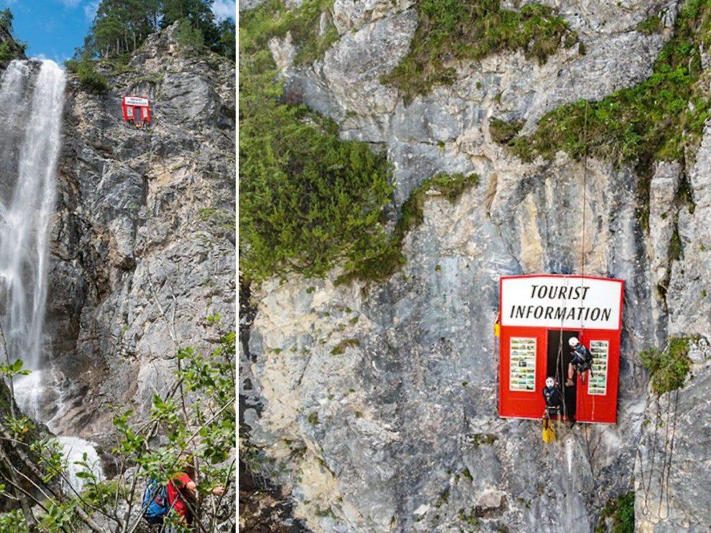 Touristen unzufrieden mit Kunstinstallation, die Selfies in der Nähe des Wasserfalls in Österreich ruiniert