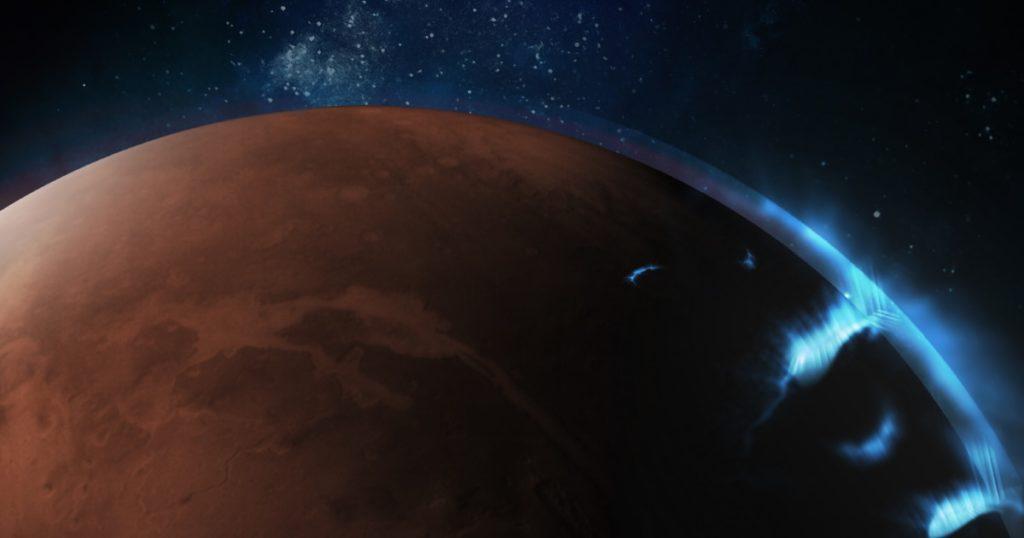 Aurora auf dem Mars von VAE-Orbiter in ultraviolettem Licht entdeckt