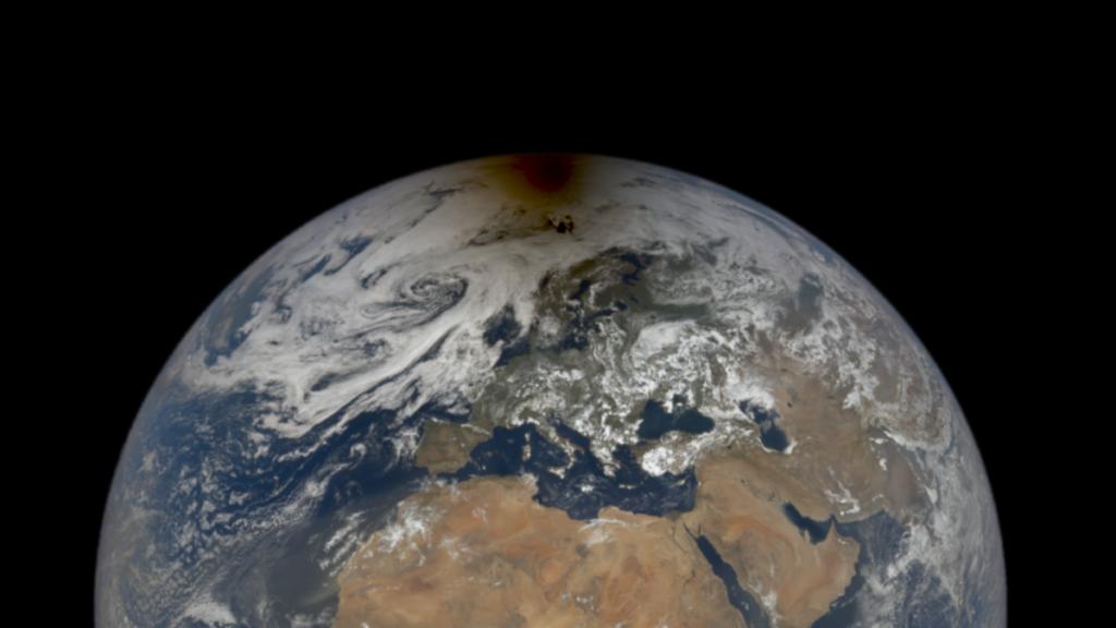 NASA macht gruseliges Foto des Mondschattens auf der Erde während der Sonnenfinsternis