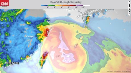 Niederschlagsvorhersage bis Samstag von Taifun In-Fa.