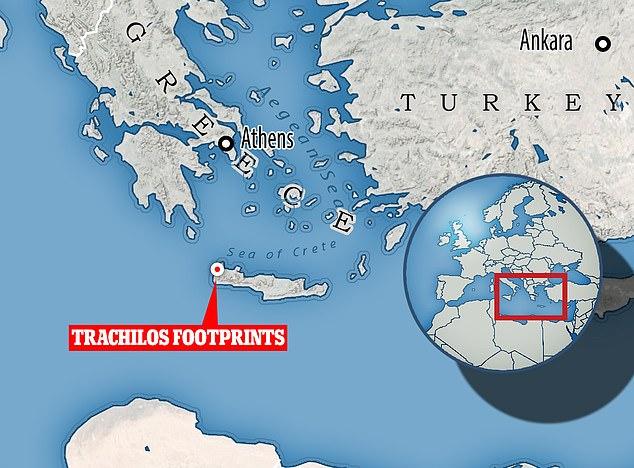 Die Fußabdrücke befinden sich in der Nähe des Dorfes Trachilos am westlichen Ende der griechischen Insel Kreta